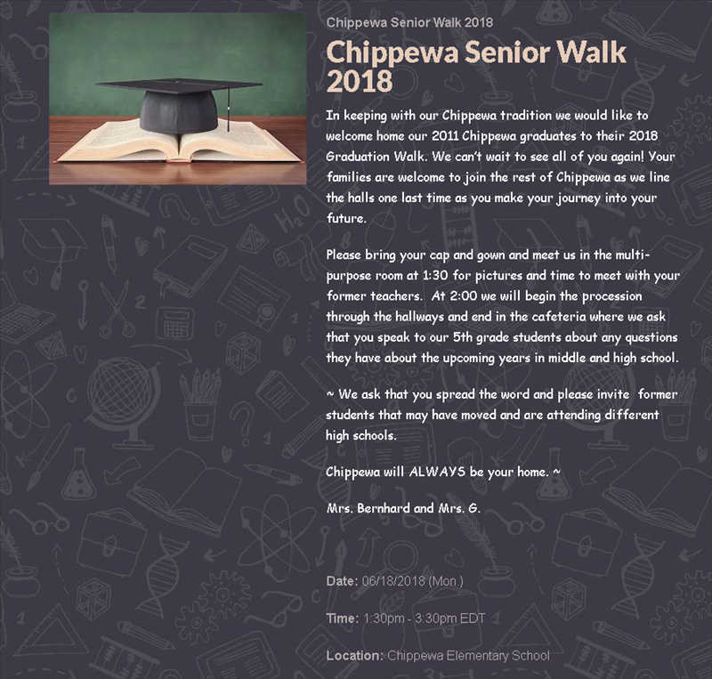 Image of Chippewa's Senior Walk June 18th from 1:30 p.m to 3:30 p.m