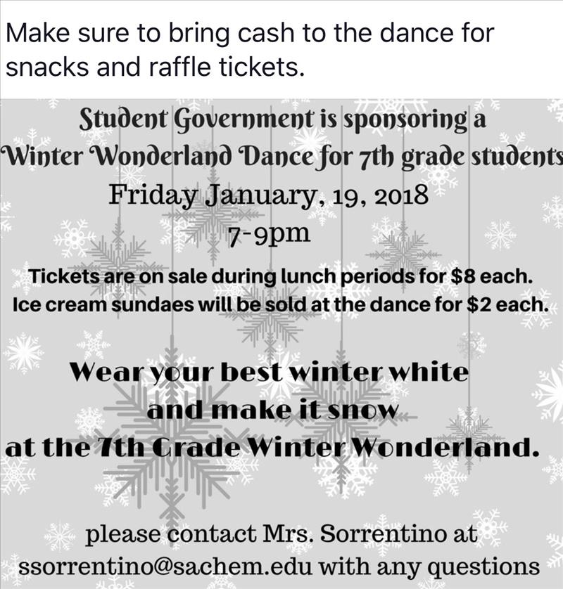 7th grade dance friday jan 19