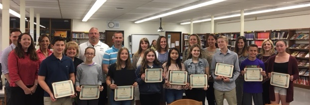 Students of the month for the months of March, April and May and their nominating teachers photo