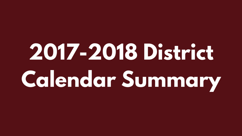 2017-2018 District Calendar Summary